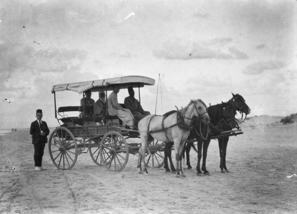 'Abdu'l-Baha in His carriage going to Haifa from Bahji, October 1921