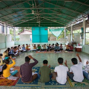 A community gathering at the Baha'i center in Battambang, Cambodia