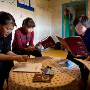 Baha'i study circle at the Baha'i center in Murun, Mongolia